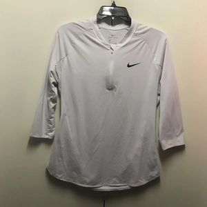 White Nike Dri-Fit 3/4 Sleeve Workout Top